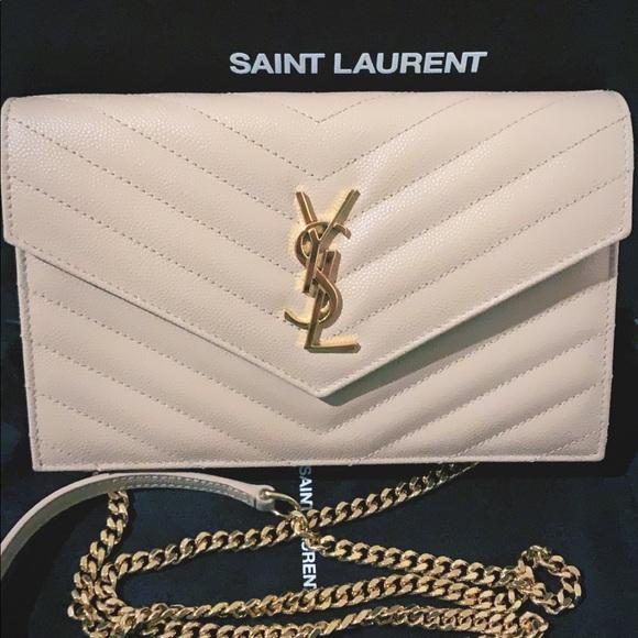 Yves Saint Laurent Handbags - SAINT LAURENT (YSL) Creme Gold Chain Wallet